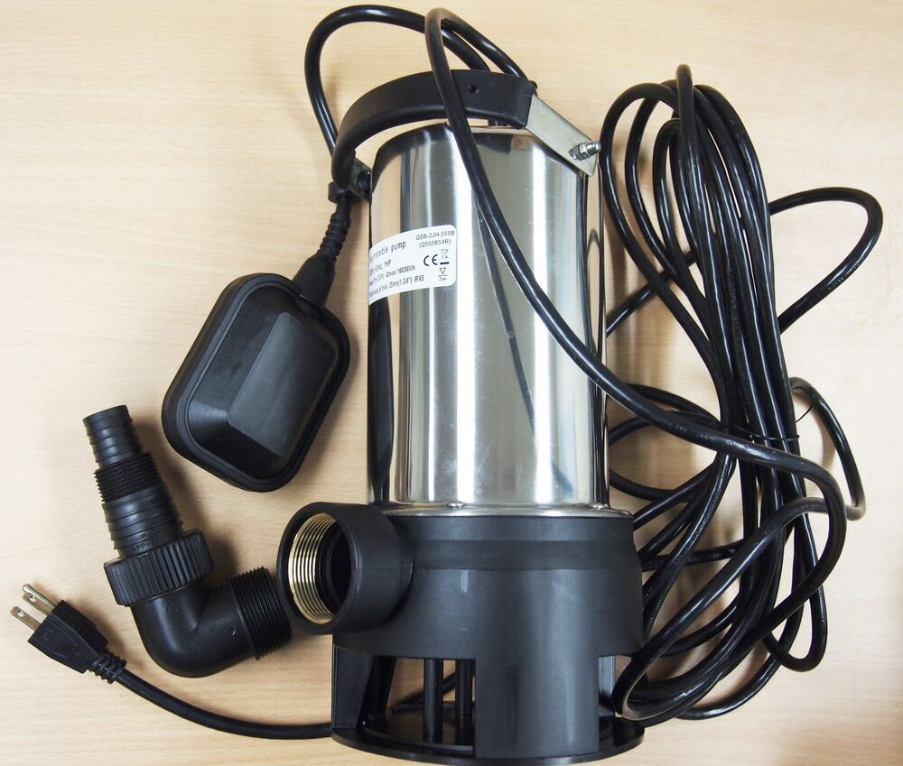 Submersible water pump stainless steel 10500 l h trash for Gartenpool pumpe