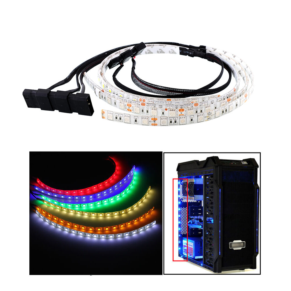 60cm bright flexible led strip light for pc computer lamp decoration waterproof ebay. Black Bedroom Furniture Sets. Home Design Ideas