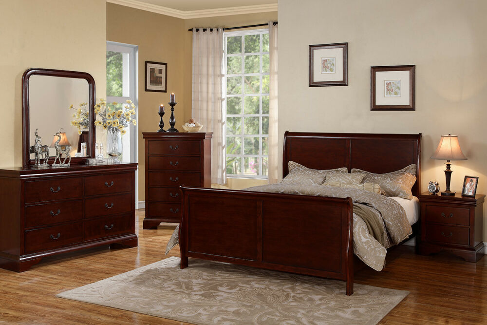 traditional style cherry wood beds dresser queen king 14419 | s l1000