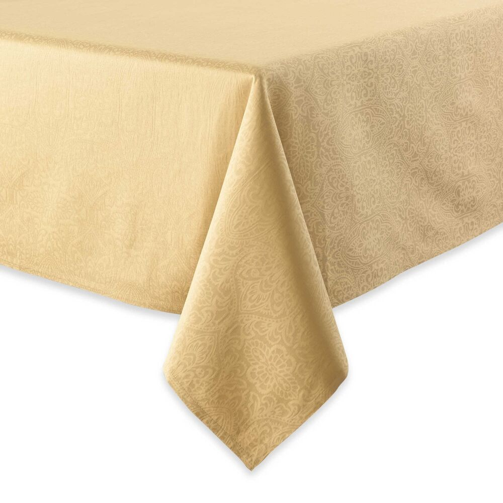 Waterford 52 x 70 sarah gold tablecloth ebay for Table runners 52 inches