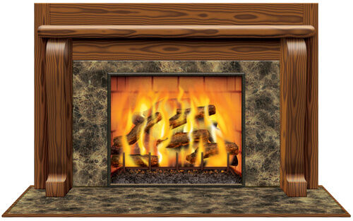 WARM WINTER FIREPLACE PROP HOLIDAY CHRISTMAS DECORATION
