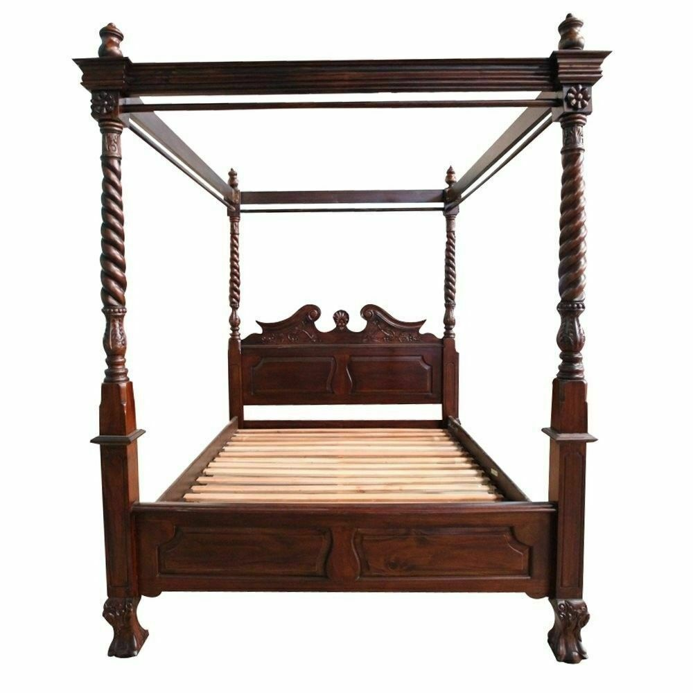 Solid Mahogany Wood Chippendale 4 Poster Bed Queen King