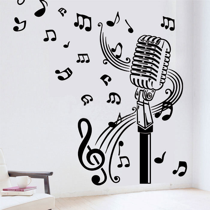 Microphone Mic Music Musical Notes Art Words Wall Sticker