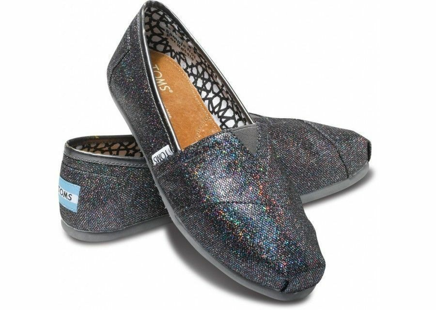 Women S Toms Casual Shoes Black Glitter