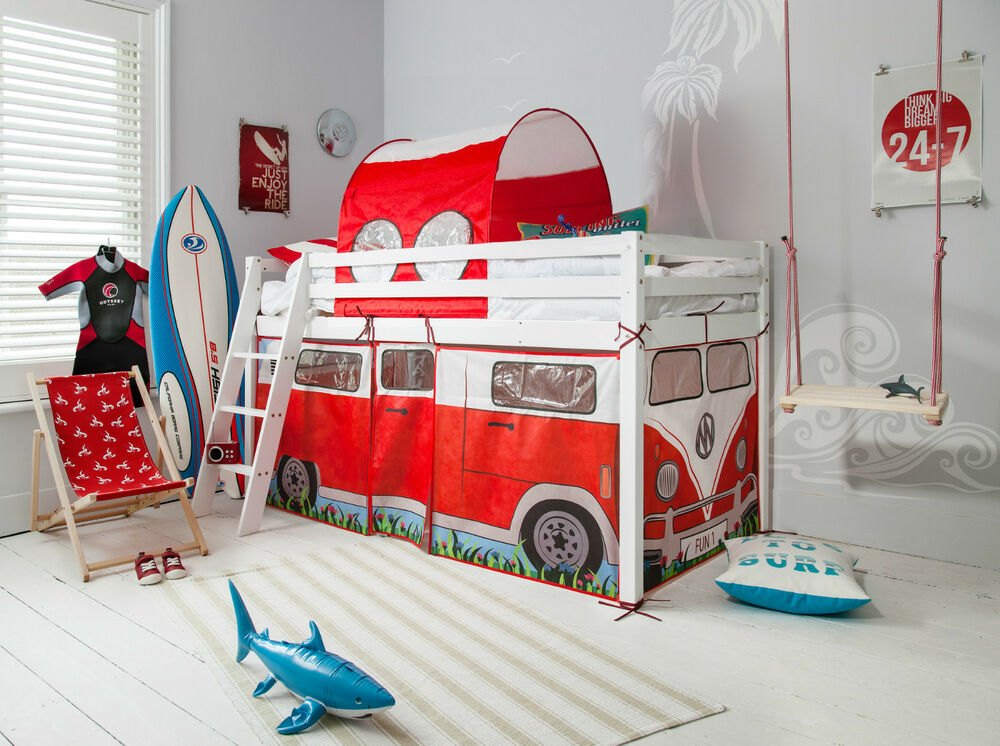 Cabin Bed midsleeper with Campervan Tent & Tunnel Kids Bed ...