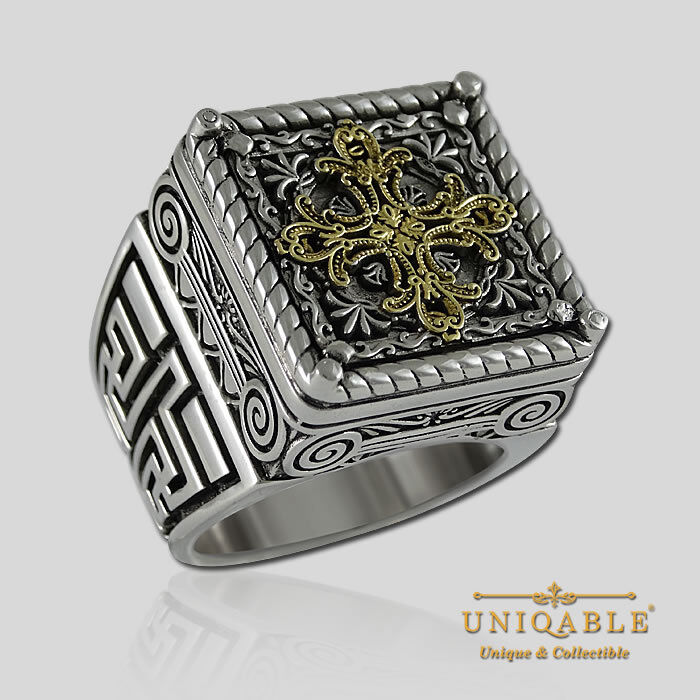 empire cross sterling silver ring 18k gold plated by
