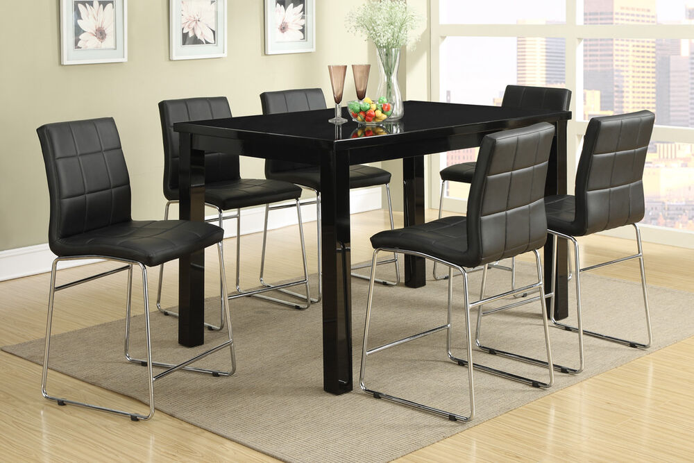 7p dining set counter height high gloss table chic black
