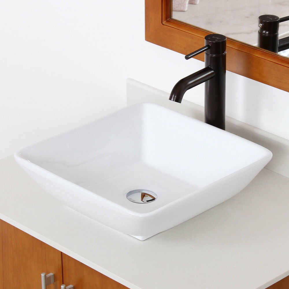 Bathroom Square Ceramic Porcelain Vessel Sink & Oil Rubbed