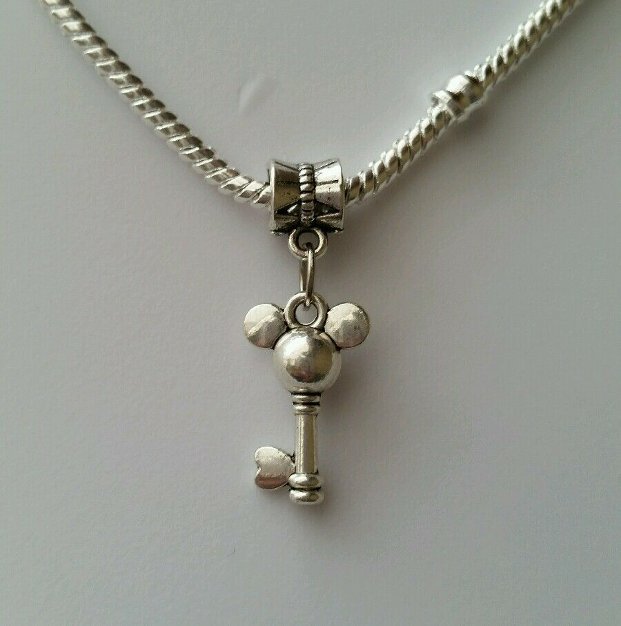 Mickey Mouse Charm Bracelet: Disney Mickey Mouse Dangle Charm Silver For European