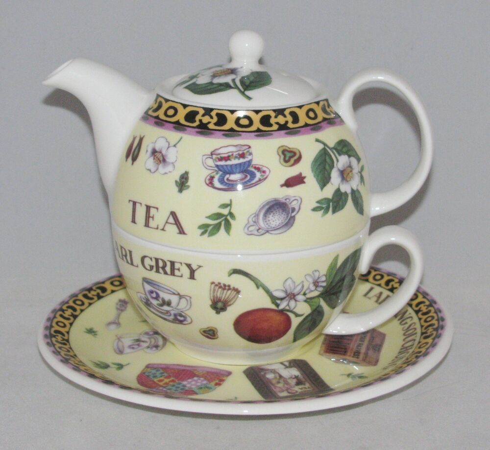roy kirkham bone china tea for one set stacked teapot cup saucer tea ebay. Black Bedroom Furniture Sets. Home Design Ideas
