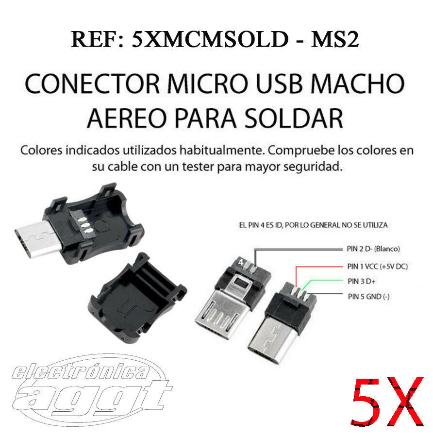 5X CONECTOR MICROUSB MICRO USB 5 PIN MOVIL MACHO SOLDAR