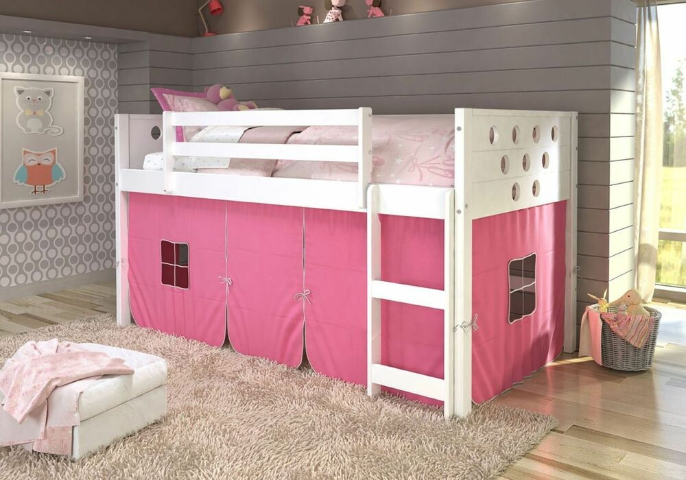 twin circles low loft bunk bed for girls with tent