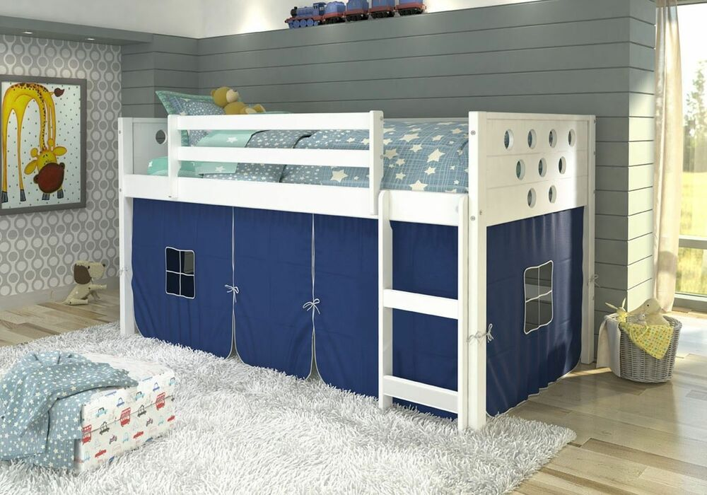 Twin Circles Low Loft Bunk Bed For Boys With Tent