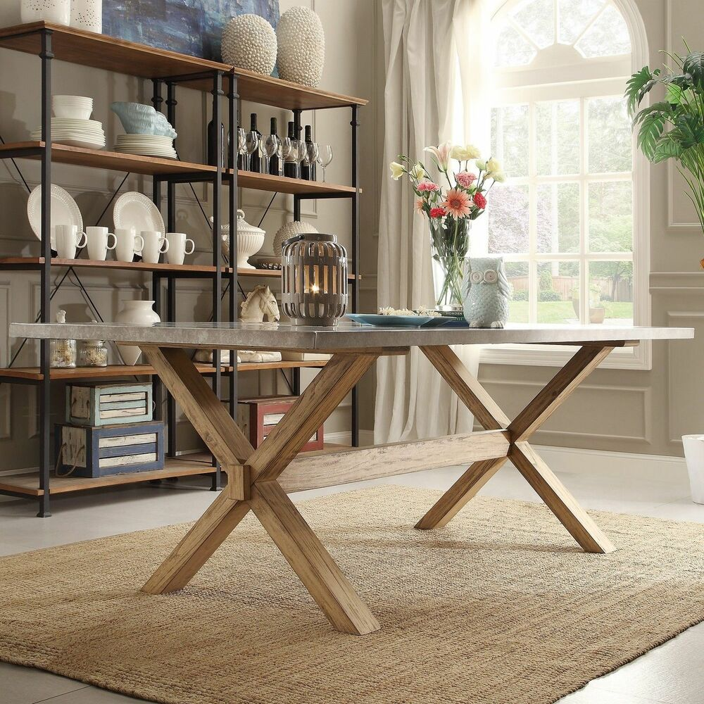 "Industrial Modern Dining Room Table: Modern Industrial Zinc Top Weathered Oak Trestle ""Dining"