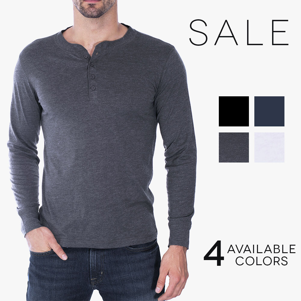 Canvas Henley Mens Long Sleeve Cotton Jersey T-Shirt Bella + ...