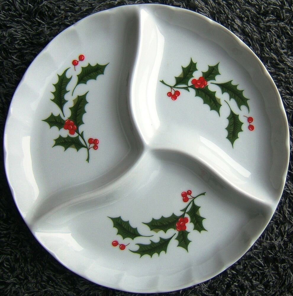 Christmas green holly red berries relish dish candy