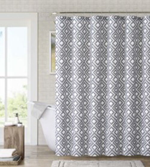 Gray Black White Diamond Geometric Art Deco Fabric Shower Curtain Ebay