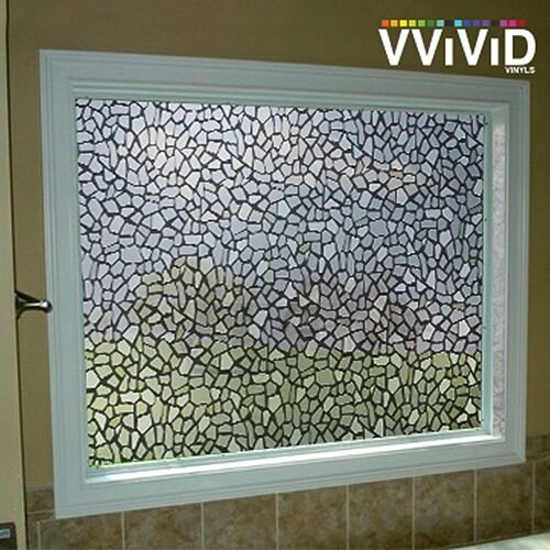 Rough stone pattern frosted window decor privacy home diy for Vinyl window designs