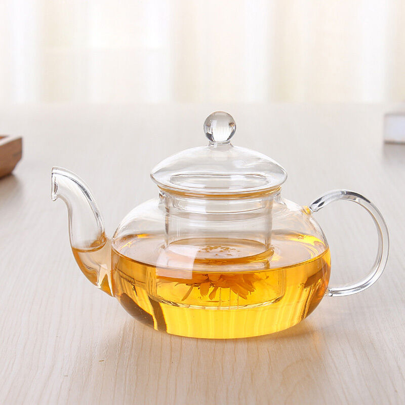 New heat resistant glass teapot with infuser coffee tea kettle leaf herbal ebay - Tea pots with infuser ...