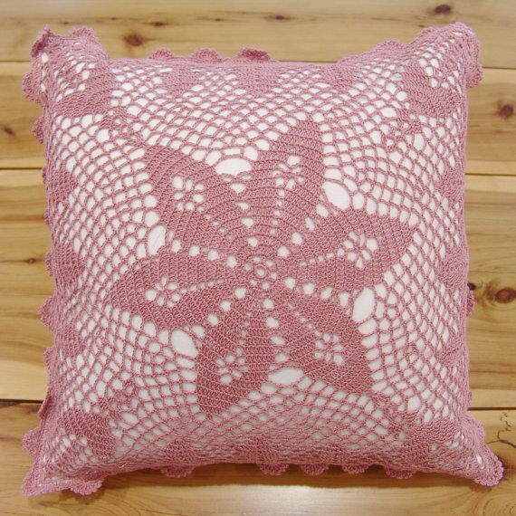 How To Make Throw Pillow Covers By Hand : Hand Crochet Lace Cushion Cover Throw Pillow Cover Hand Made Pure Cotton Purple eBay