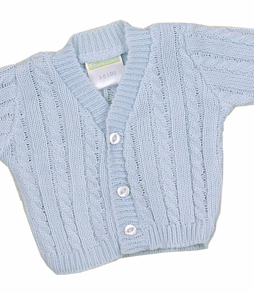 BabyPrem Preemie Tiny Baby Boys Clothes Blue Cable Knitted