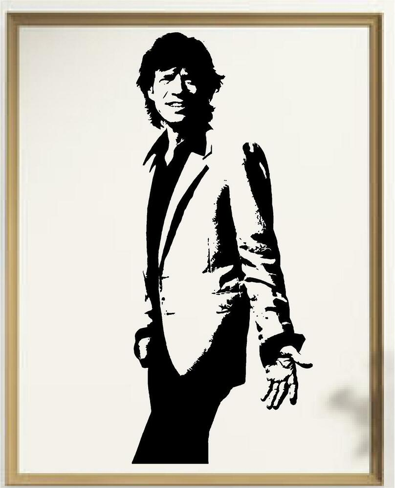 mick jagger silhouette vinyl wall art decal ebay. Black Bedroom Furniture Sets. Home Design Ideas
