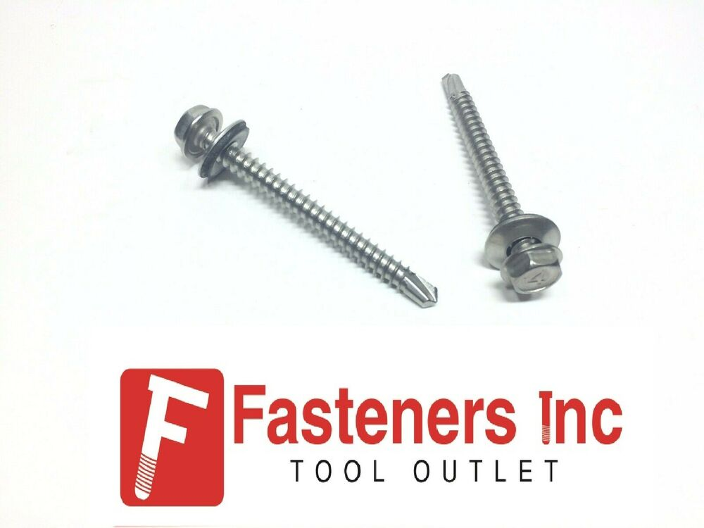100 10 X 2 Quot Stainless Steel Roofing Tek Screw Hex Head