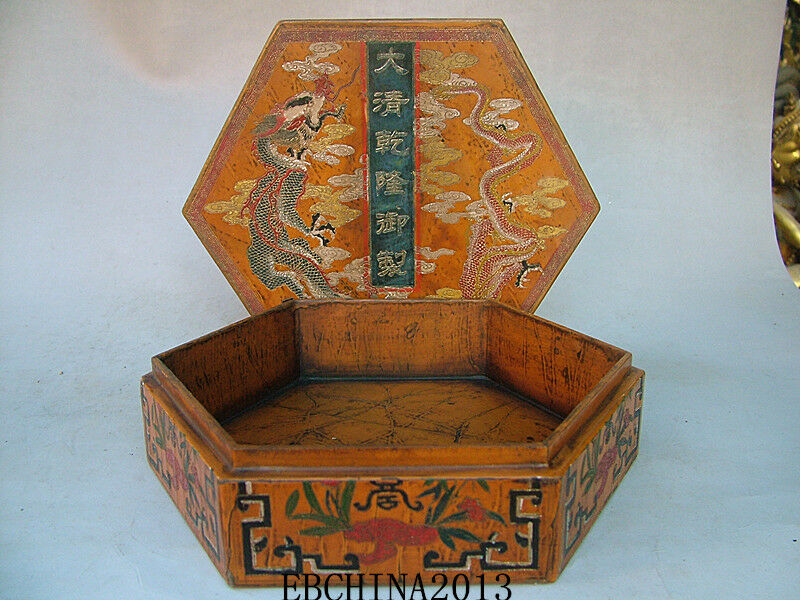 8 6 Quot Old Antique Chinese Ancient Boxwood Lacquer Dragon
