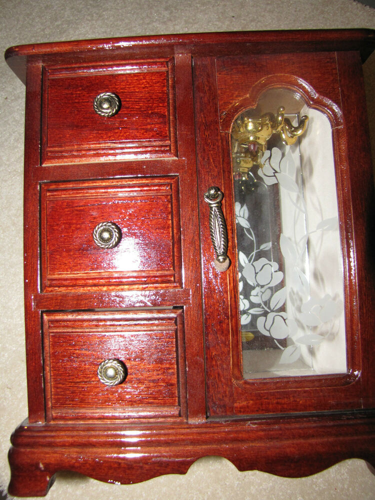 Vintage Mahogany Jewelry Box Dresser Armoire Style Etched