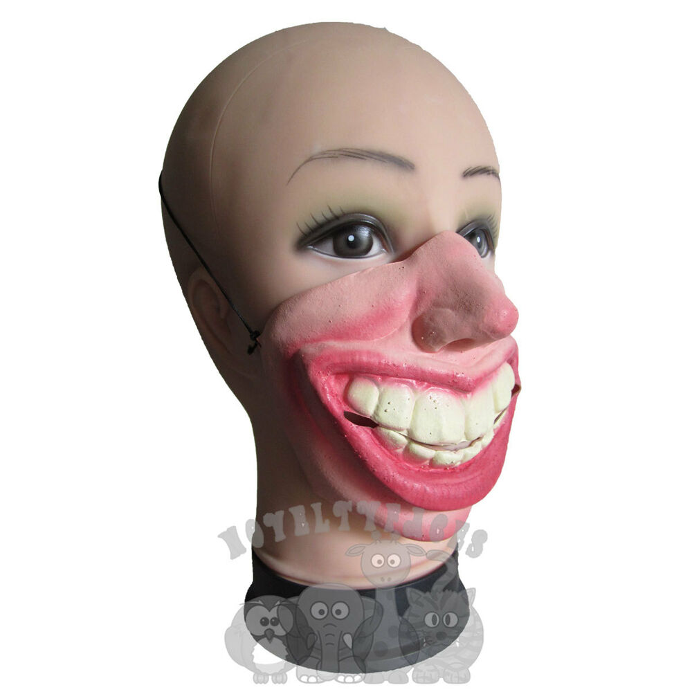 Latex Comedy Funny Faces Half Face Big Toothy Grin Party