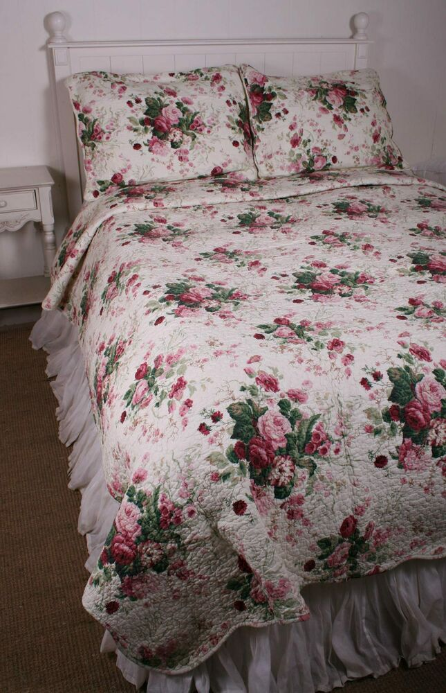 king quilt shabby garden chic china rose cotton ebay. Black Bedroom Furniture Sets. Home Design Ideas