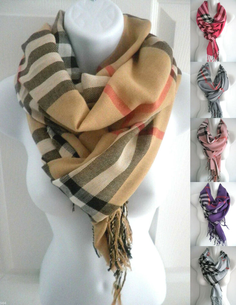 New Women Men Plaid Check Print Pashmina Long Scarf Stole Wrap Shawl Cape Ebay