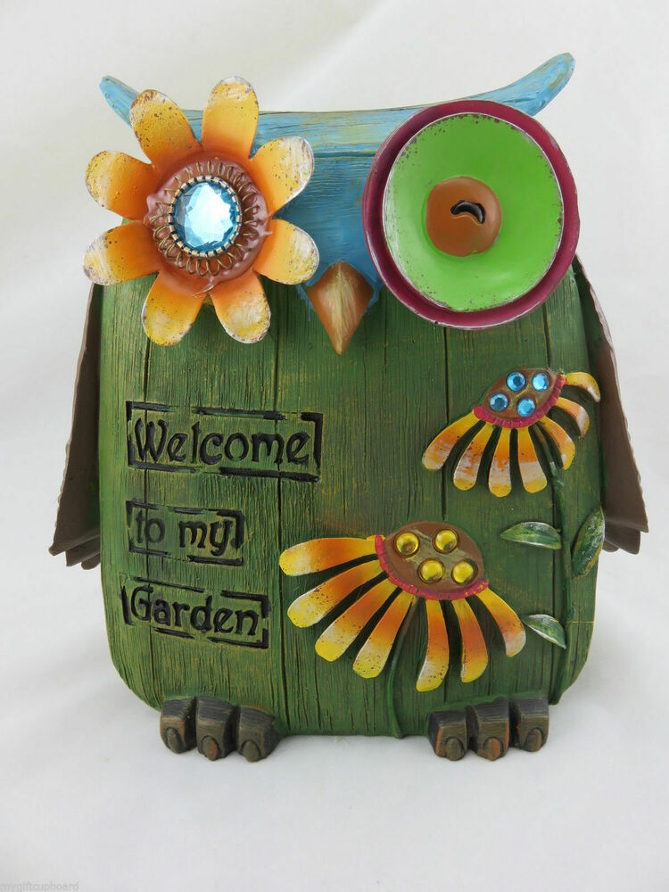 Owl statue sign welcome to my garden ornament garden for Owl decorations for the home