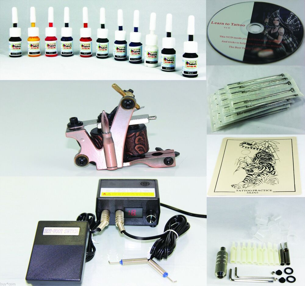Top rated complete tattoo kit machine gun 11 color inks for Tattoo supplies ebay