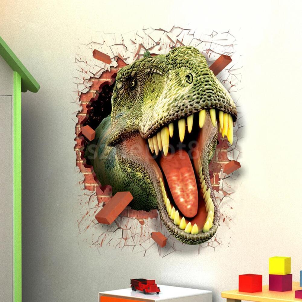 3d dinosaur t rex wall crack sticker kids boys bedroom for T rex bedroom decor