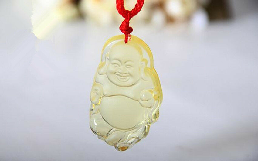 1pc Unisex Natural Light Jade Hand Carved Buddha Guan Yin Pendant Rope Necklace