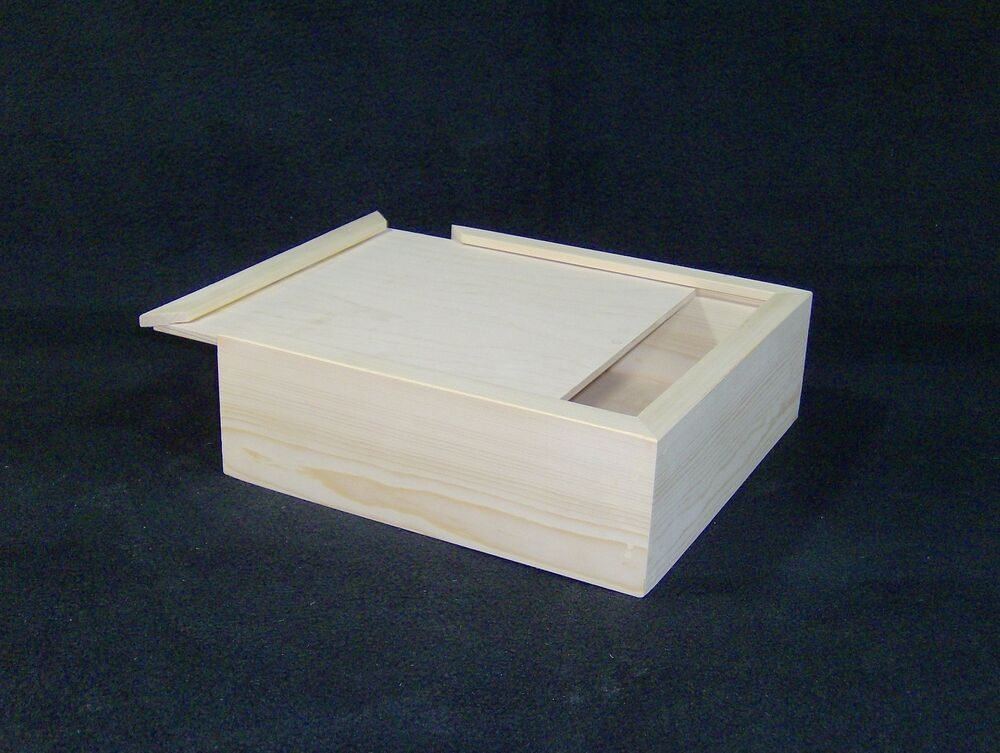 10 x 10 x 3 custom sliding lid wood craft box for Unfinished wooden boxes for crafts