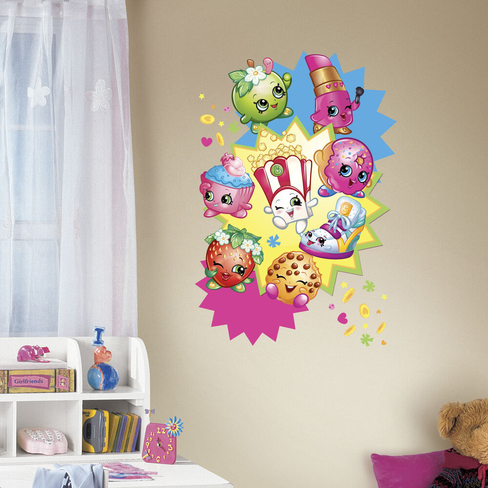 shopkins graphic wall decals girls bedroom stickers pink decor ebay