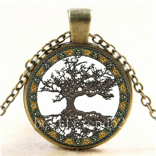 Vintage celtic tree of life cabochon glass bronze chain for What is the meaning of the tree of life jewelry