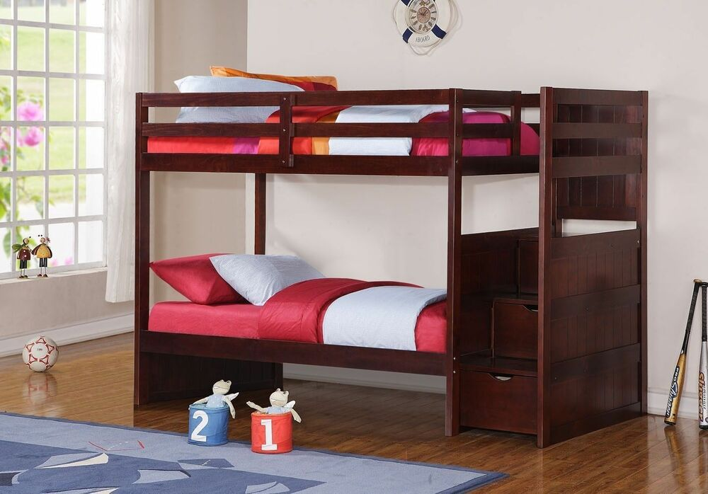 Bed Over Stair Box With Storage And Stairs: Twin Over Twin Loft Bed Bunkbed With Stairs With Storage
