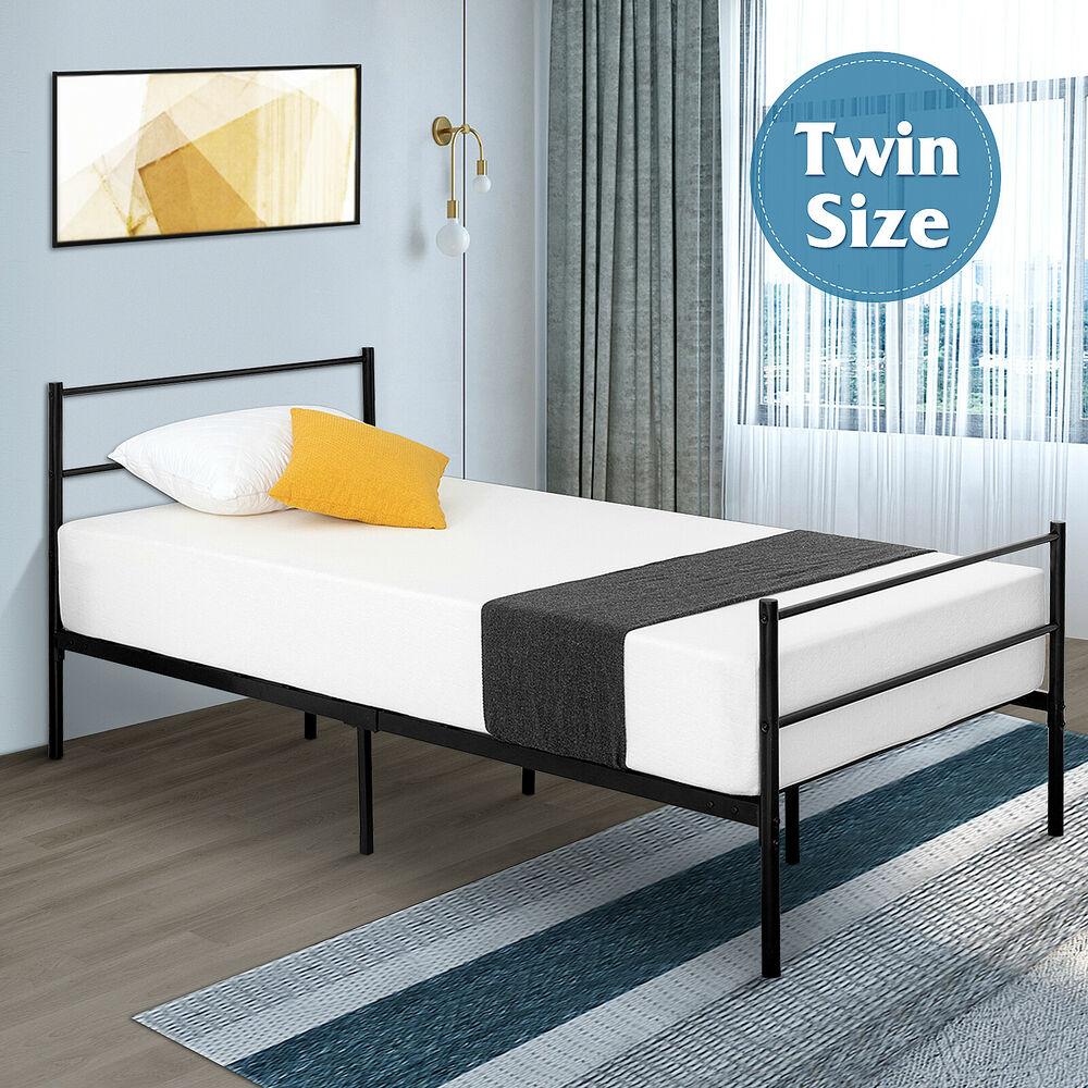 modern queen size bi fold folding platform metal bed frame mattress foundation ebay. Black Bedroom Furniture Sets. Home Design Ideas