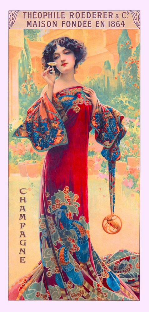 1894 Peacock Series I Woman Red Vintage French Nouveau