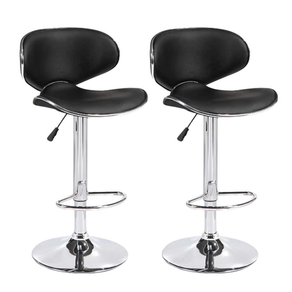 Set Of 2 Black Counter Height Adjustable Leather Bar