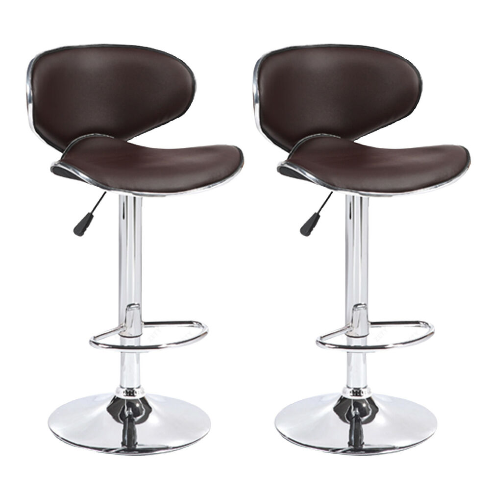 Faux Leather Brown Counter Stool Set Of 2 Dining Room Bar: BN Set Of 2 Adjustable Bar Stools Leather Hydraulic Swivel