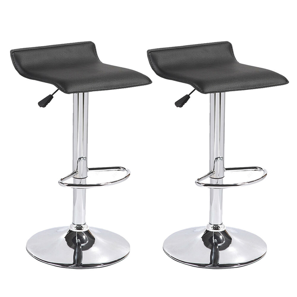Swivel Counter Stool Bar Stool High Chair Black Kitchen: BN Set Of 2 Black Swivel Seat Chrome Base Pub Bar Stools