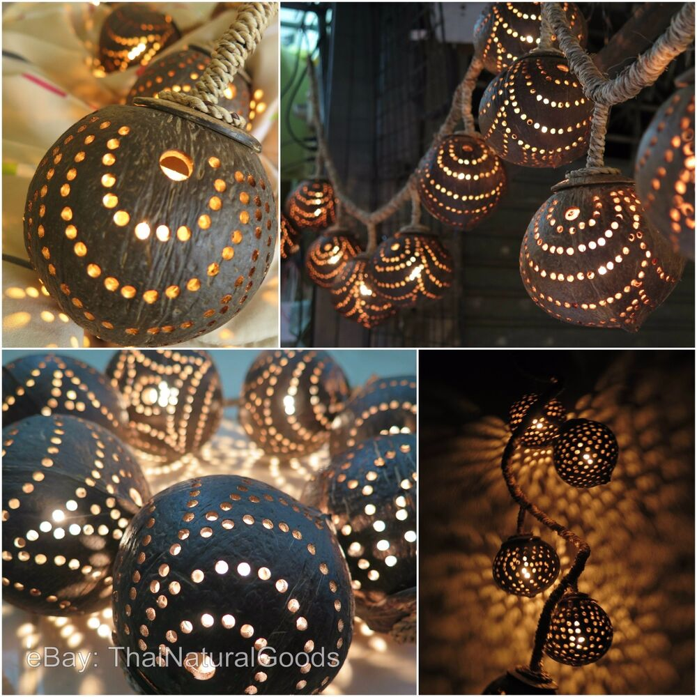 New Wooden Hanging Lamps Made Of Coconut Shell Asian