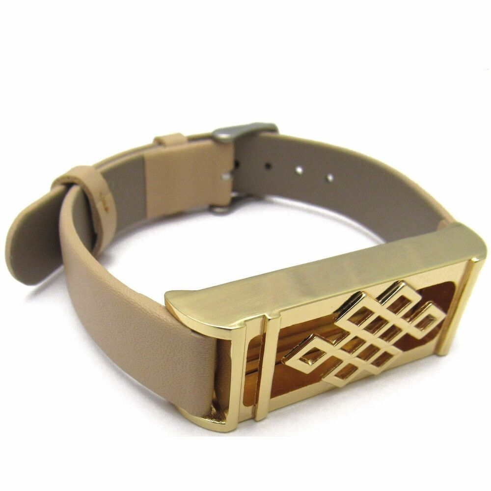 Gold Band Bracelet: For Fitbit Flex Band Beige Leather Wristband Strap & Gold