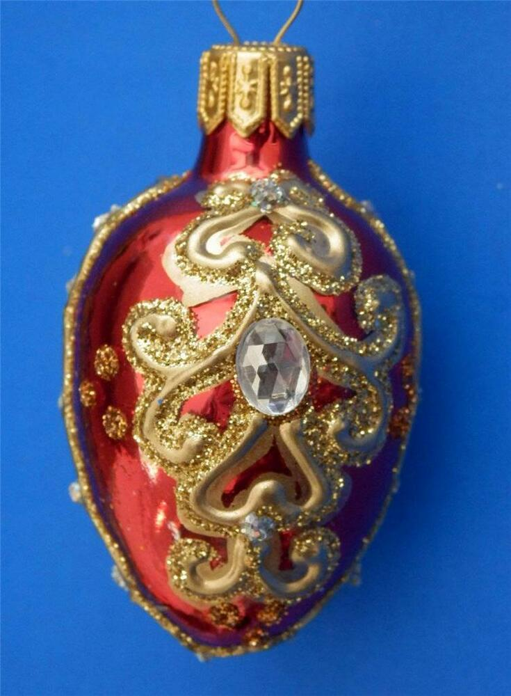 Red gold crystlal faberge inspired egg blown glass