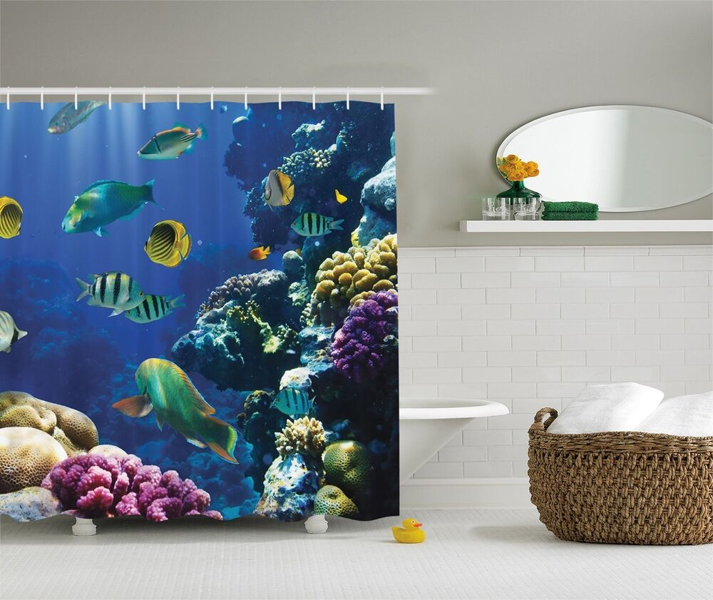 Under Water Ocean Beach Tropical Coral Reef Fish Fabric