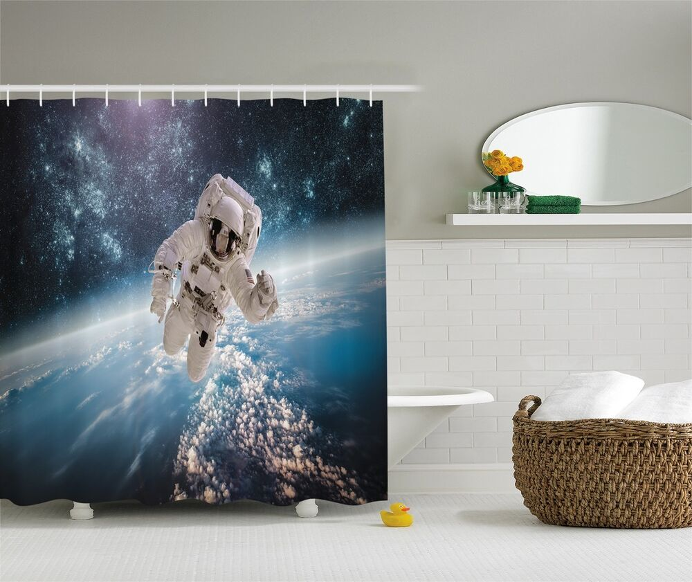 Astronaut Outer Space Planet Earth Digital Fabric Shower Curtain Ebay
